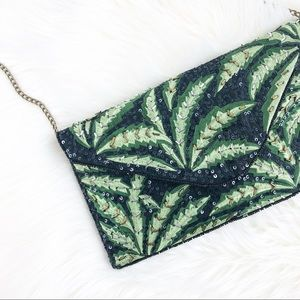 Clements Ribeiro palm print embroidered clutch bag